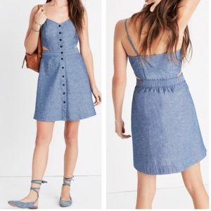 Madewell Chambray button down denim cutout dress